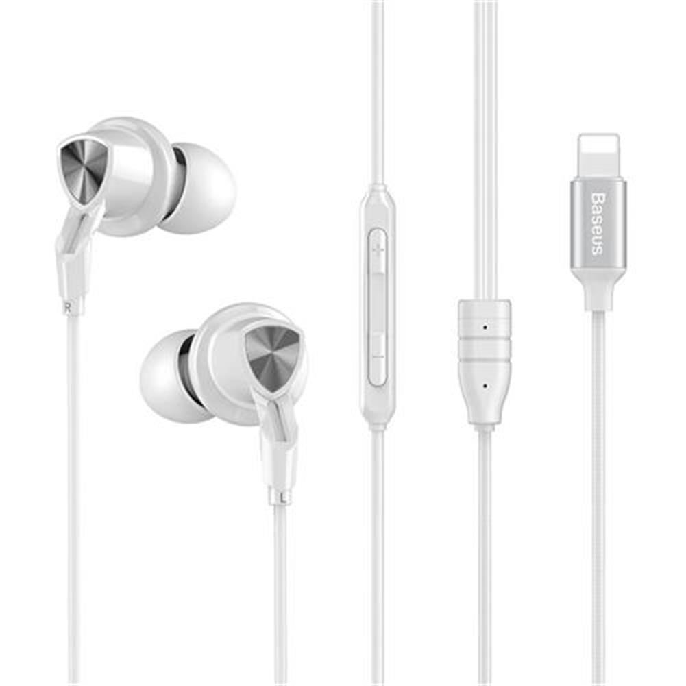 headsets-Baseus P04 Digital Wire Control Handsfree 8 Pin Music Earphone with Mic for iPhone iPAD with iOS 10 or Above - White-Baseus P04 Digital Wire Control Handsfree 8 Pin Music Earphone with Mic for iPhone iPAD with iOS 10 or Above White