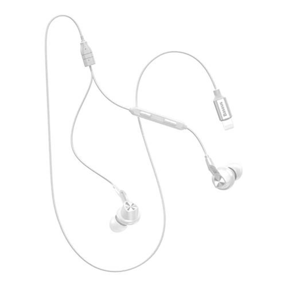 headsets Baseus P04 Digital Wire Control Handsfree 8 Pin Music Earphone with Mic for iPhone iPAD with iOS 10 or Above - White Baseus P04 Digital Wire Control Handsfree 8 Pin Music Earphone with Mic for iPhone iPAD with iOS 10 or Above White 1