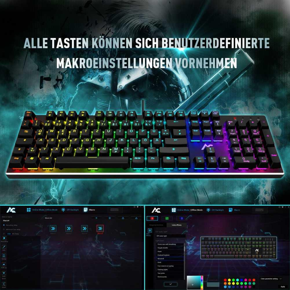 wired-keyboards ACGAM AG-109R 105 Keys RGB Mechanical Anti-Ghosting Gaming Keyboard German Layout Ergonomic Arc Full-Keyboard RGB Backlight - Black ACGAM AG 109R 105 Keys RGB Mechanical Anti Ghosting Gaming Keyboard German Layout Ergonomic Arc Full Keyboard RGB Backlight Black 4