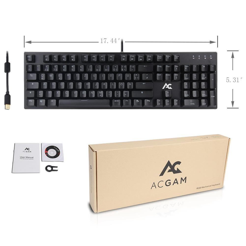 wired-keyboards ACGAM AG-109R 105 Keys RGB Mechanical Anti-Ghosting Gaming Keyboard German Layout Ergonomic Arc Full-Keyboard RGB Backlight - Black ACGAM AG 109R 105 Keys RGB Mechanical Anti Ghosting Gaming Keyboard German Layout Ergonomic Arc Full Keyboard RGB Backlight Black 5