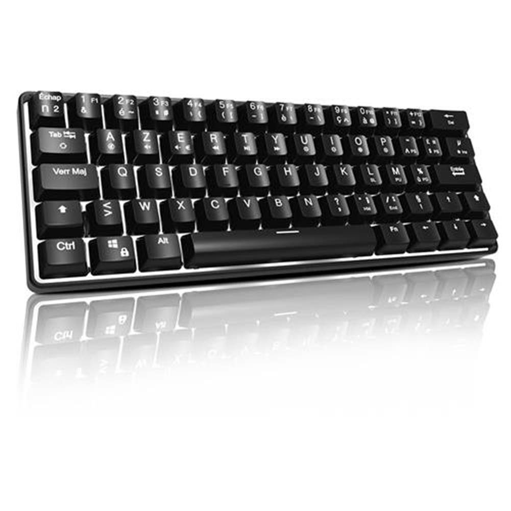 wired-keyboards-ACGAM AG6X Wired Mechanical Keyboard Full Keys Programmable With White Backlight French Layout 63 Keys - Black-ACGAM AG6X Wired Mechanical Keyboard Full Keys Programmable With White Backlight French Layout 63 Keys Black