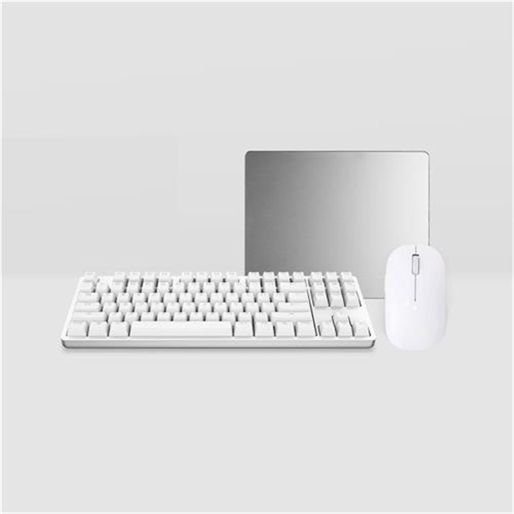 keyboard-and-mice-kit Original Xiaomi Yuemi Mechanical Keyboard + White Wireless Mouse + Metal Mouse Pad Office Kit - White Original Xiaomi Yuemi Mechanical Keyboard White Wireless Mouse Metal Mouse Pad Office Kit White