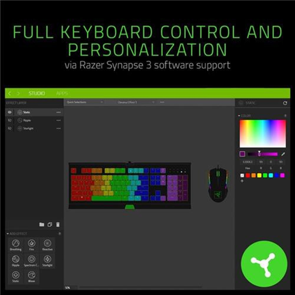 wired-keyboards Razer Cynosa Chroma Multi-color RGB Wired Gaming Keyboard Individual Backlit Keys Spill-resistant Durable Design US Layout - Black Razer Cynosa Chroma Multi color RGB Wired Gaming Keyboard Individual Backlit Keys Spill resistant Durable Design US Layout Black 1