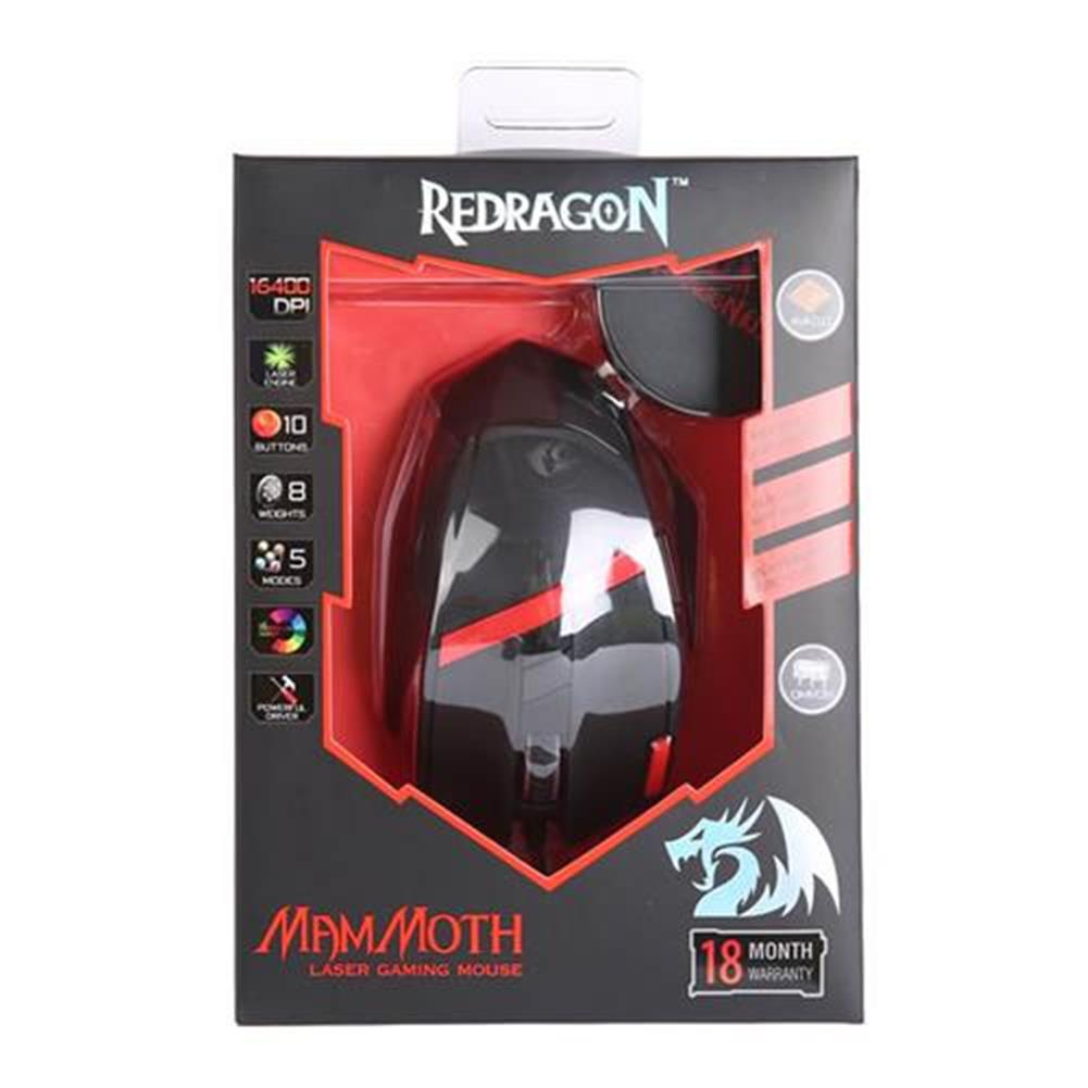 wired-mouse Redragon M801 Mammoth Gaming Mouse 16400 DPI 9 Programmable Buttons Laser for PC - Black Redragon M801 Mammoth Gaming Mouse 16400 DPI 9 Programmable Buttons Laser for PC Black 4