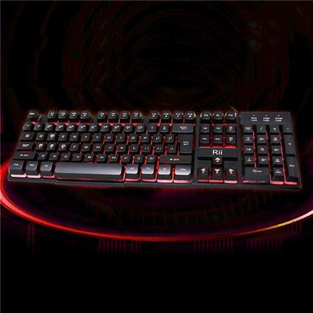 wired-keyboards Rii RK100 3 LED Colors Backlight USB Wired Mechanical Feeling Multi-media Gaming Keyboard - Black Rii RK100 3 LED Colors Backlight USB Wired Mechanical Feeling Multi media Gaming Keyboard Black 3