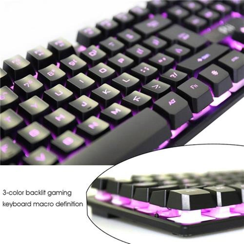 wired-keyboards Rii RK100 3 LED Colors Backlight USB Wired Mechanical Feeling Multi-media Gaming Keyboard - Black Rii RK100 3 LED Colors Backlight USB Wired Mechanical Feeling Multi media Gaming Keyboard Black 5
