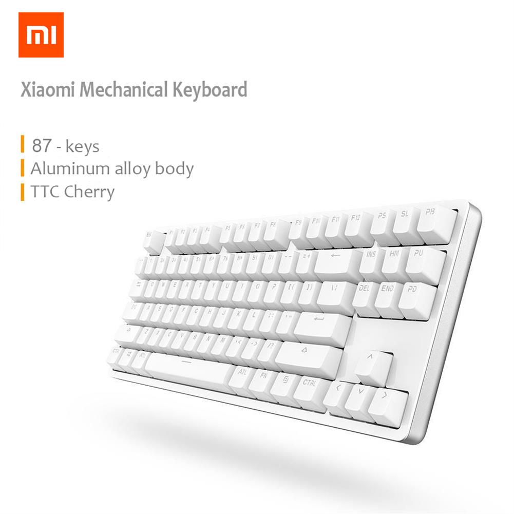 wired-keyboards XIAOMI Mi Mechanical Keyboard 87 Keys Gaming Keyboard with Cherry Red Switches and LED Backlit - White XIAOMI Mi Mechanical Keyboard 87 Keys Gaming Keyboard with Cherry Red Switches and LED Backlit White