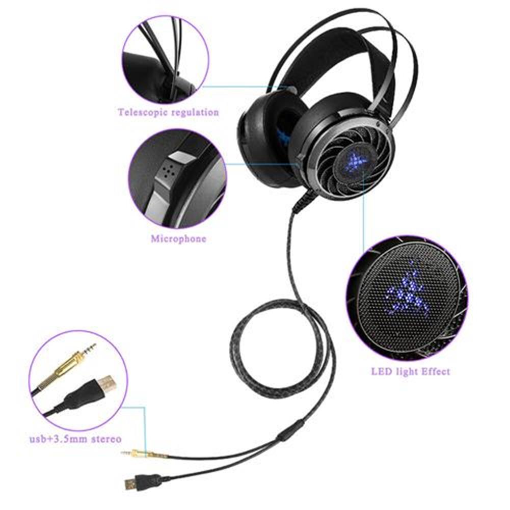 on-ear-over-ear-headphones Combaterwing M160 Professional Stereo Gaming Headsets Noise Isolation LED Light For Laptop Computer PS4 - Black Combaterwing M160 Professional Stereo Gaming Headsets Noise Isolation LED Light For Laptop Computer PS4 Black 7