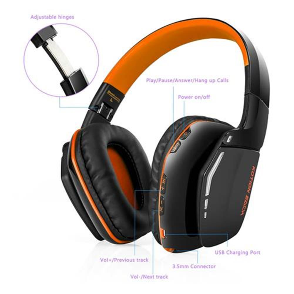 on-ear-over-ear-headphones KOTION EACH B3506 Foldable Bluetooth 4.1 Gaming Headsets with MIC - Black/Orange KOTION EACH B3506 Foldable Bluetooth 4 1 Gaming Headsets with MIC Black Orange 6