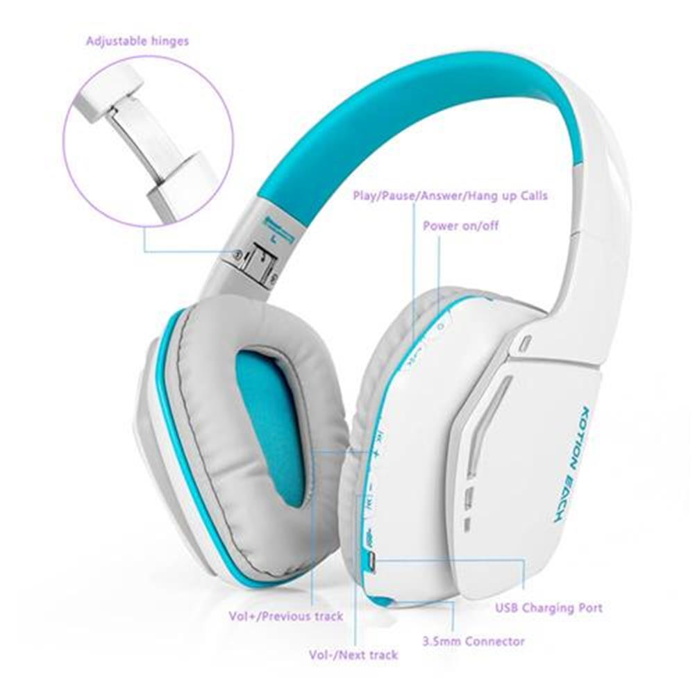 on-ear-over-ear-headphones KOTION EACH B3506 Foldable Bluetooth 4.1 Gaming Headsets with MIC - White/Blue KOTION EACH B3506 Foldable Bluetooth 4 1 Gaming Headsets with MIC White Blue 6