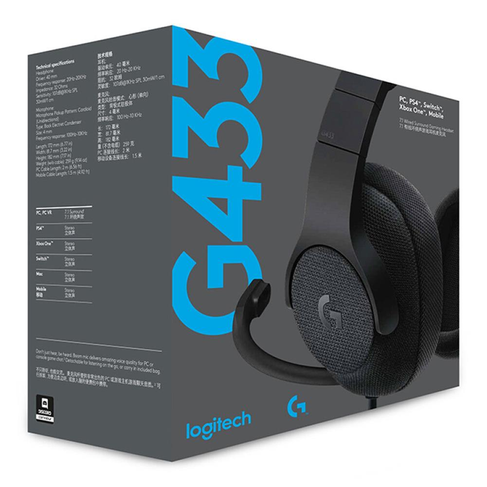 on-ear-over-ear-headphones Logitech G433 Gaming Headset Wired 7.1 Surround Sound Channel - Black Logitech G433 Gaming Headset Wired 7 1 Surround Sound Channel Black 5