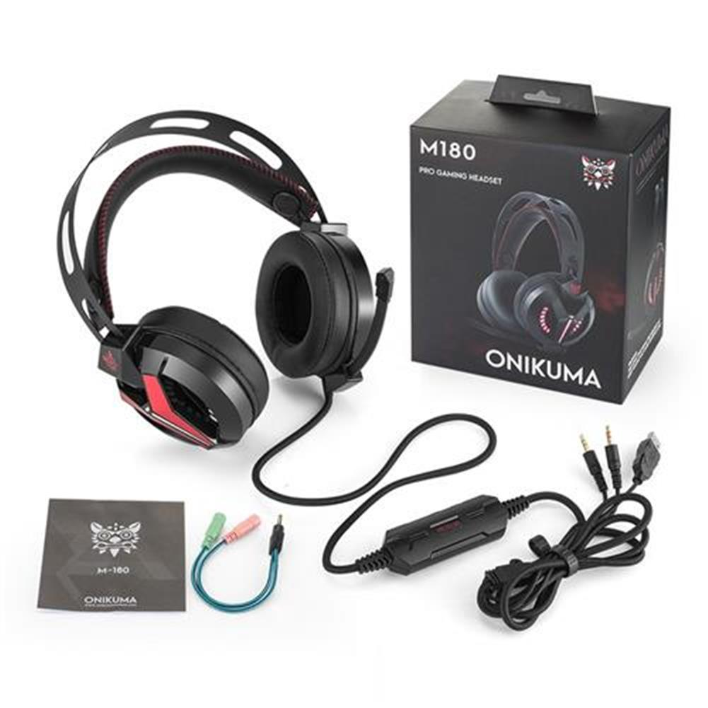 on-ear-over-ear-headphones ONIKUMA M180 Gaming Headphone with Mic Stereo Bass with Noise Isolation for PS4 Xbox One S Phone - Black + Red ONIKUMA M180 Gaming Headphone with Mic Stereo Bass with Noise Isolation for PS4 Xbox One S Phone Black Red 3