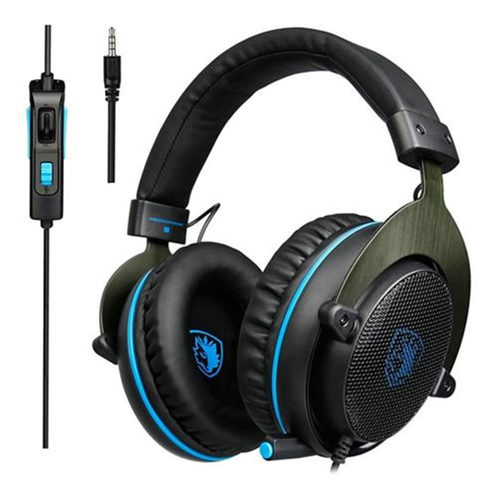 on-ear-over-ear-headphones SADES R3 Gaming Headset with Mic Stereo Bass Volume Control for Xbox One PS4 PC PC Laptop - Black + Blue SADES R3 Gaming Headset with Mic Stereo Bass Volume Control for Xbox One PS4 PC PC Laptop Black Blue