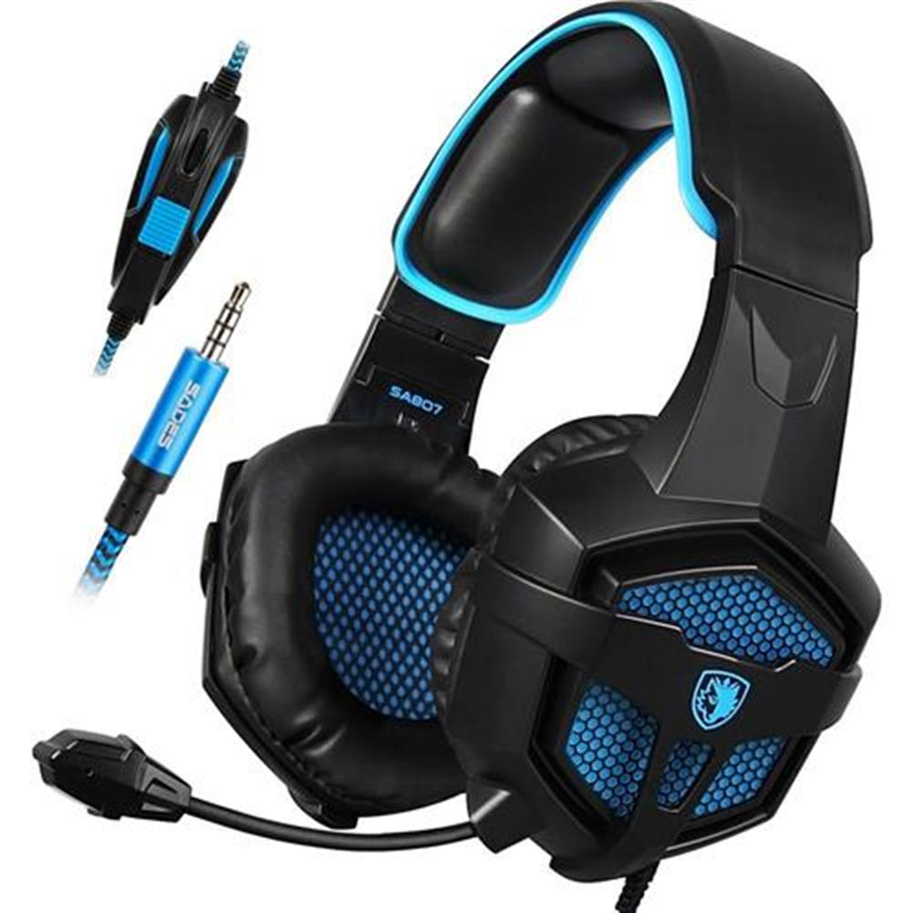 on-ear-over-ear-headphones SADES SA-807 Gaming Headphones with Mic Noise Cancelling - Black + Blue SADES SA 807 Gaming Headphones with Mic Noise Cancelling Black Blue