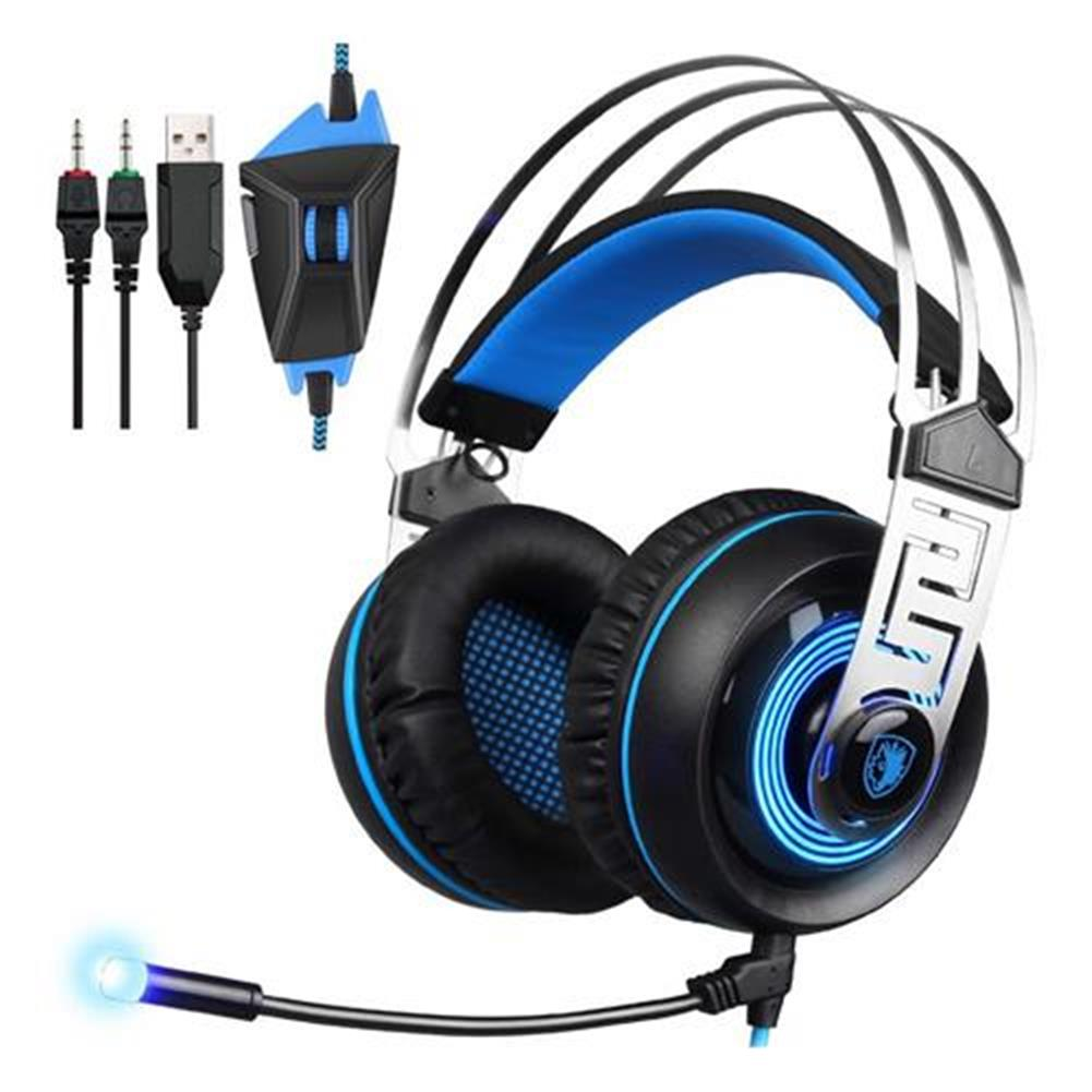 on-ear-over-ear-headphones Sades A7 USB 3.5mm Gaming Headphones with Mic 7.1 Surround Sound Blue LED Light for Xbox One - Blue Sades A7 USB 3 5mm Gaming Headphones with Mic 7 1 Surround Sound Blue LED Light for Xbox One Blue