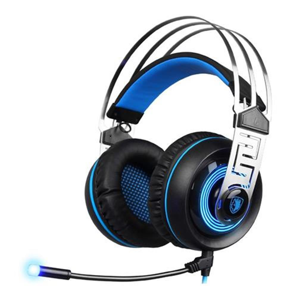 on-ear-over-ear-headphones Sades A7 USB 3.5mm Gaming Headphones with Mic 7.1 Surround Sound Blue LED Light for Xbox One - Blue Sades A7 USB 3 5mm Gaming Headphones with Mic 7 1 Surround Sound Blue LED Light for Xbox One Blue 1