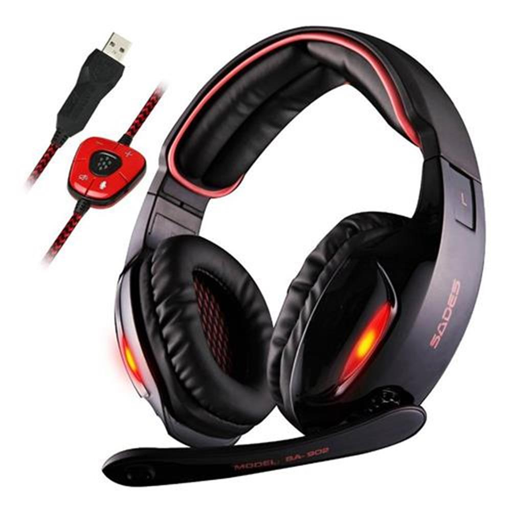 on-ear-over-ear-headphones Sades SA-902 USB Gaming Headset with Mic 7.1 Surround Sound Volume Control for PC Laptop - Black Sades SA 902 USB Gaming Headset with Mic 7 1 Surround Sound Volume Control for PC Laptop Black