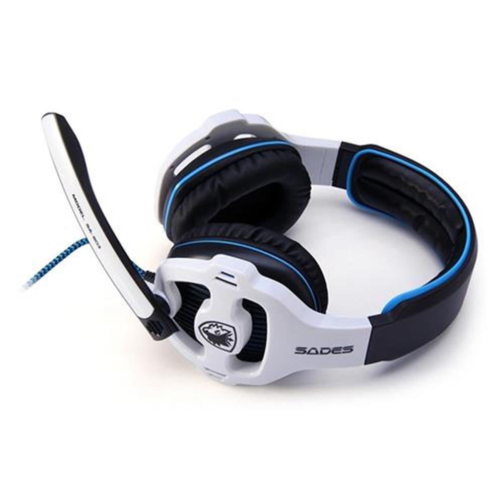 on-ear-over-ear-headphones Sades SA-903 USB Gaming Headset with Mic Stereo 7.1 Surround LED Light - White + Black Sades SA 903 USB Gaming Headset with Mic Stereo 7 1 Surround LED Light White Black 1