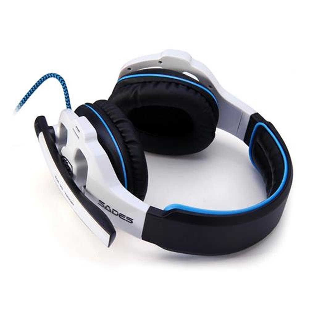 on-ear-over-ear-headphones Sades SA-903 USB Gaming Headset with Mic Stereo 7.1 Surround LED Light - White + Black Sades SA 903 USB Gaming Headset with Mic Stereo 7 1 Surround LED Light White Black 3