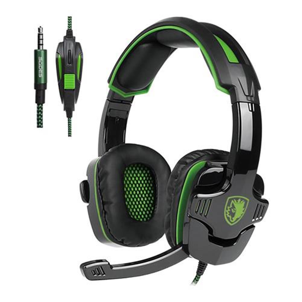 on-ear-over-ear-headphones-Sades SA-930 Gaming Headphones with Mic Noise Cancelling Volume Control - Black + Green-Sades SA 930 Gaming Headphones with Mic Noise Cancelling Volume Control Black Green