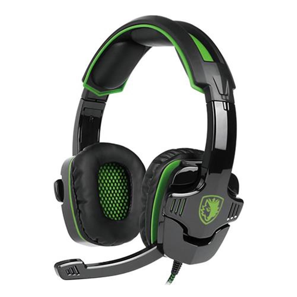 on-ear-over-ear-headphones Sades SA-930 Gaming Headphones with Mic Noise Cancelling Volume Control - Black + Green Sades SA 930 Gaming Headphones with Mic Noise Cancelling Volume Control Black Green 1