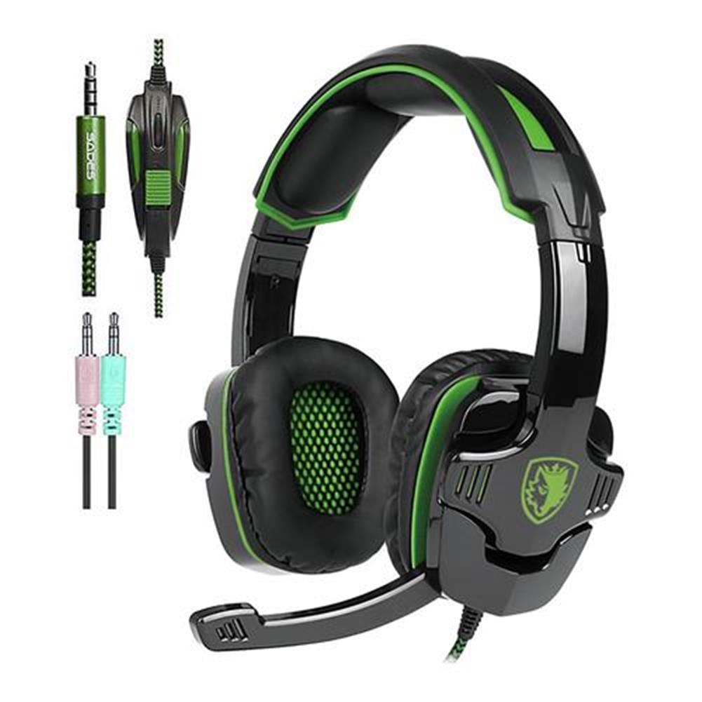 on-ear-over-ear-headphones Sades SA-930 Gaming Headphones with Mic Noise Cancelling Volume Control - Black + Green Sades SA 930 Gaming Headphones with Mic Noise Cancelling Volume Control Black Green 4