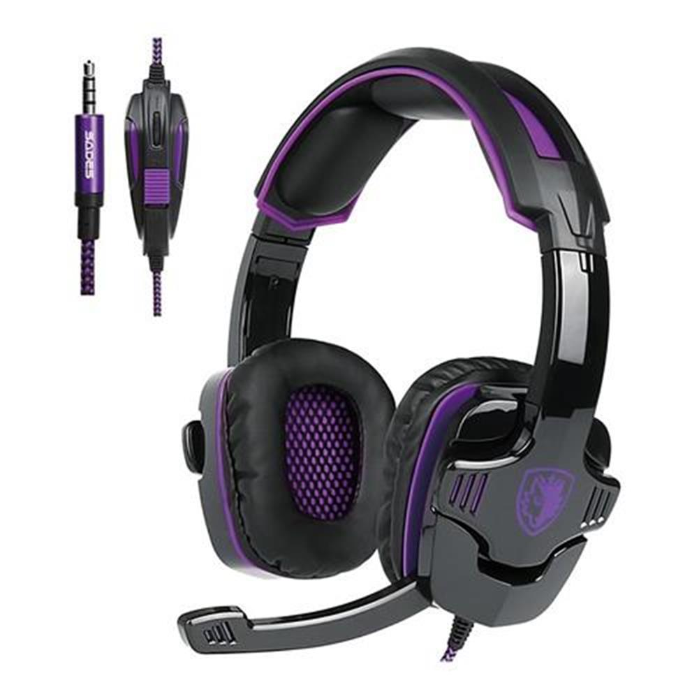 on-ear-over-ear-headphones Sades SA-930 Gaming Headphones with Mic Noise Cancelling Volume Control - Black + Purple Sades SA 930 Gaming Headphones with Mic Noise Cancelling Volume Control Black Purple