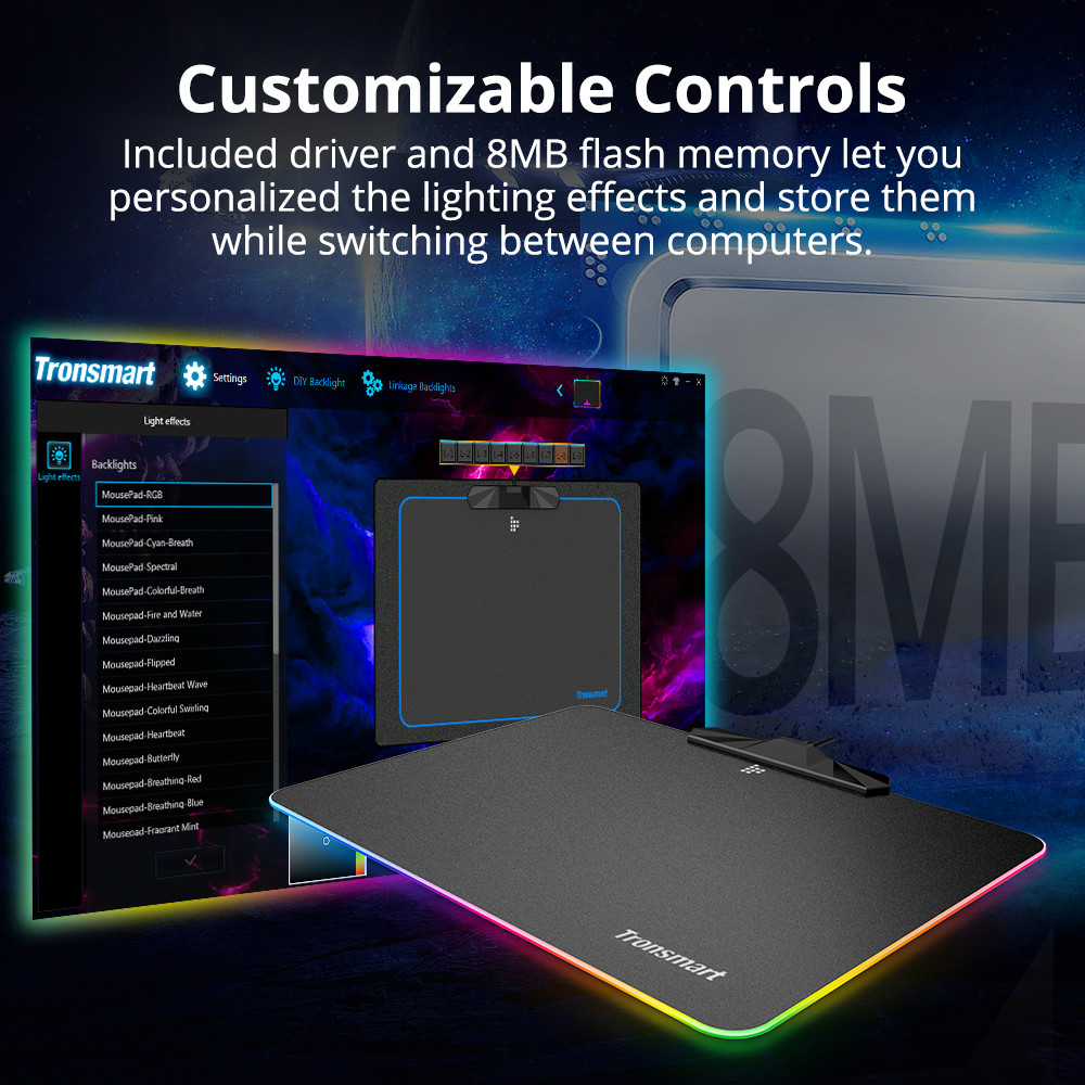 mouse-pads Tronsmart Shine X RGB Gaming Mouse Pad USB Mat with 16.8 Million Colors Non-slip Base Optimized for Gaming Sensors Tronsmart Shine X RGB Gaming Mouse Pad USB Mat with 16.8 Million Colors Non slip Base Optimized for Gaming Sensors 5