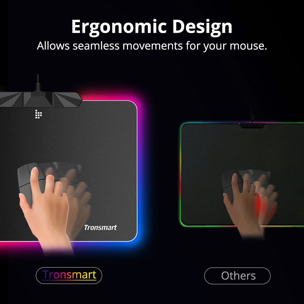 mouse-pads Tronsmart Shine X RGB Gaming Mouse Pad USB Mat with 16.8 Million Colors Non-slip Base Optimized for Gaming Sensors Tronsmart Shine X RGB Gaming Mouse Pad USB Mat with 16.8 Million Colors Non slip Base Optimized for Gaming Sensors 7