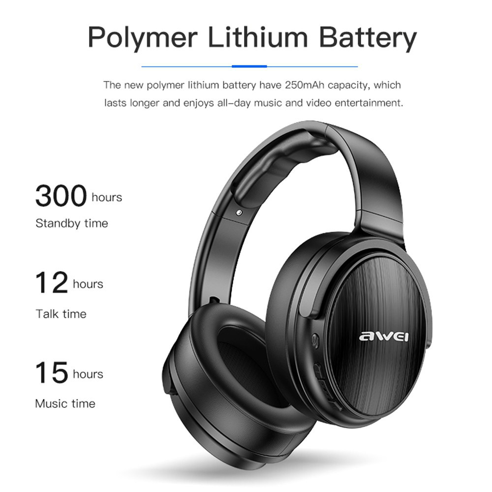 on-ear-over-ear-headphones AWEI A780BL Foldable Bluetooth 5.0 Headphone IPX5 Water Resistant AWEI A780BL Foldable Bluetooth 5.0 Headphone IPX5 Water Resistant Black 3