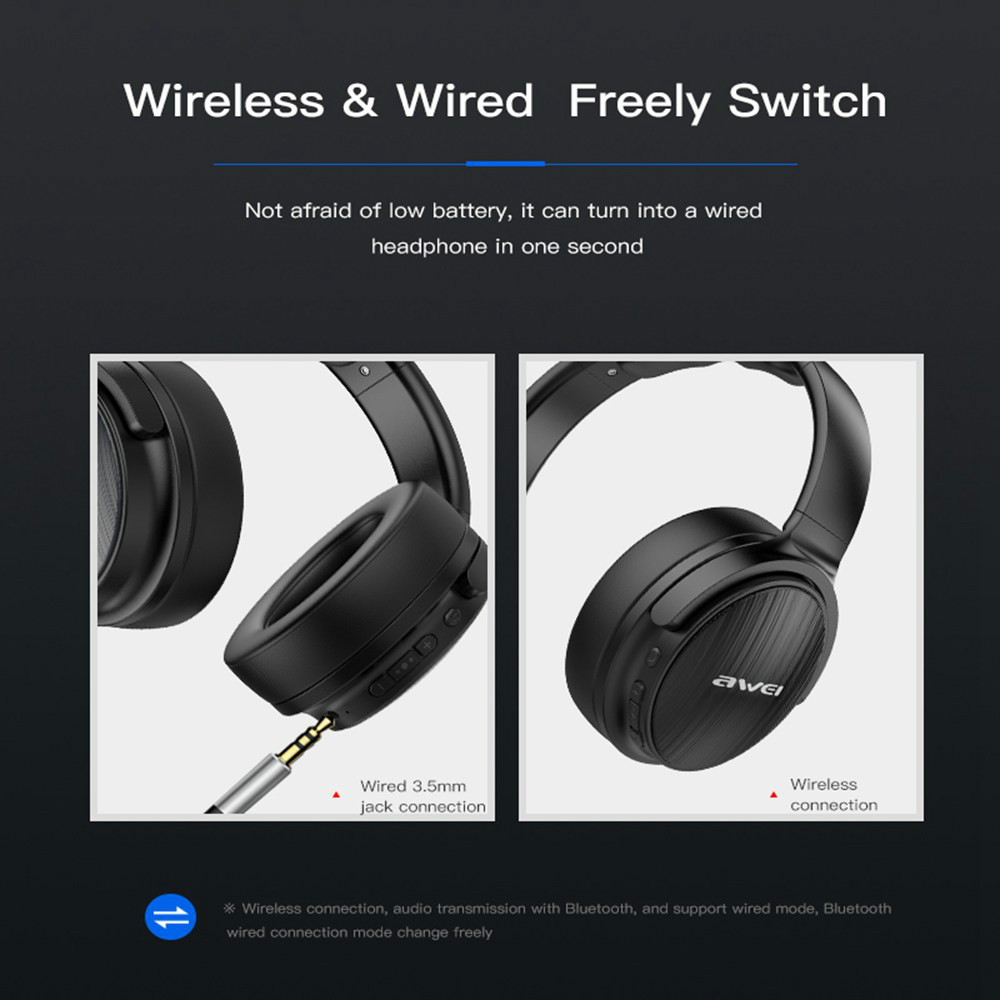 on-ear-over-ear-headphones AWEI A780BL Foldable Bluetooth 5.0 Headphone IPX5 Water Resistant AWEI A780BL Foldable Bluetooth 5.0 Headphone IPX5 Water Resistant Black 4