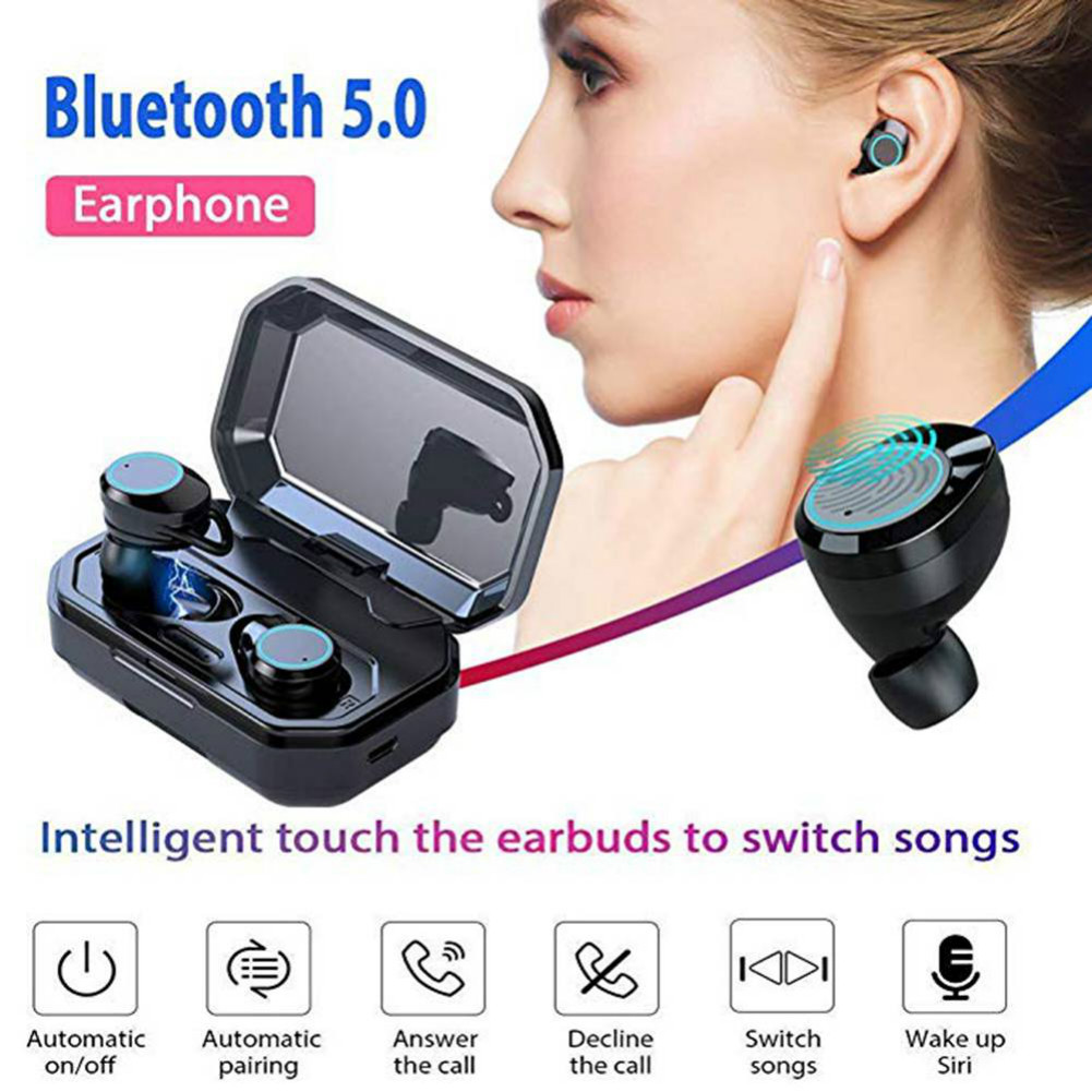earbud-headphones X6 TWS Bluetooth 5.0 Earbuds 3000mAh Support Charging for Phones About 4 Hours Working Time-Black X6 TWS Bluetooth 5.0 Earbuds 3000mAh Support Charging for Phones About 4 Hours Working Time Black 2