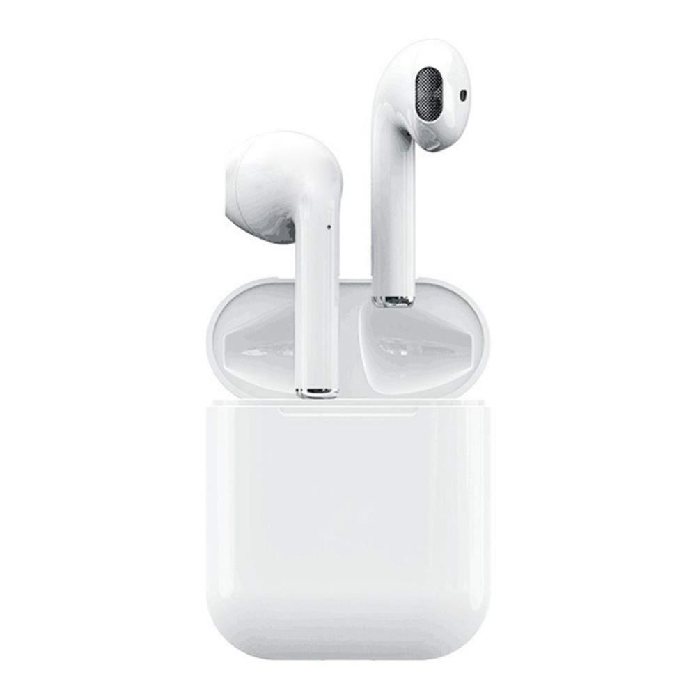 earbud-headphones Apods i12 Bluetooth 5.0 TWS Earbuds Wireless Charging Realtek 8763BFR 300mAh Charging Box Apods i12 TWS Wireless Bluetooth Earphones White