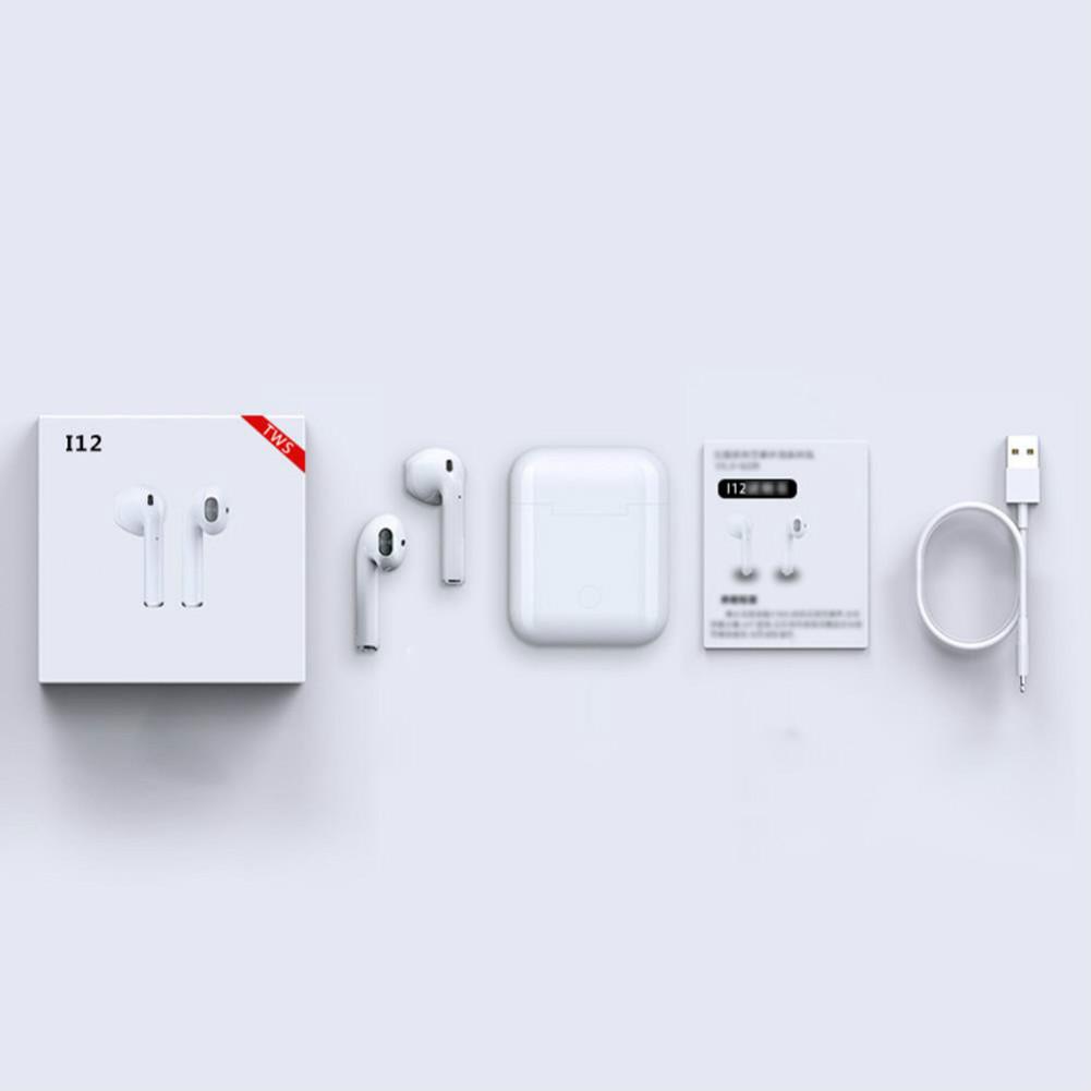 earbud-headphones Apods i12 Bluetooth 5.0 TWS Earbuds Wireless Charging Realtek 8763BFR 300mAh Charging Box Apods i12 TWS Wireless Bluetooth Earphones White 3