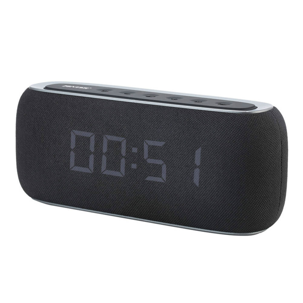 bluetooth-speakers-JONTER M46 Portable Bluetooth Speaker with Time Display FM Radio-Black-JONTER M46 Portable Bluetooth Speaker Black