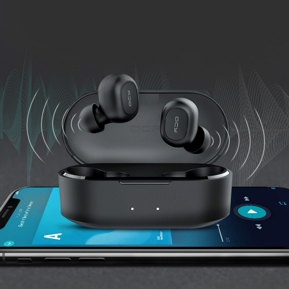 earbud-headphones QCY T2C TWS Dual Bluetooth 5.0 Earbuds Noise Reduction IPX4 Water Resistant 800mAh Charging Box 4 Hours Working Time-Black QCY T2C T1S TWS Dual Bluetooth 5 0 Earbuds Black 3