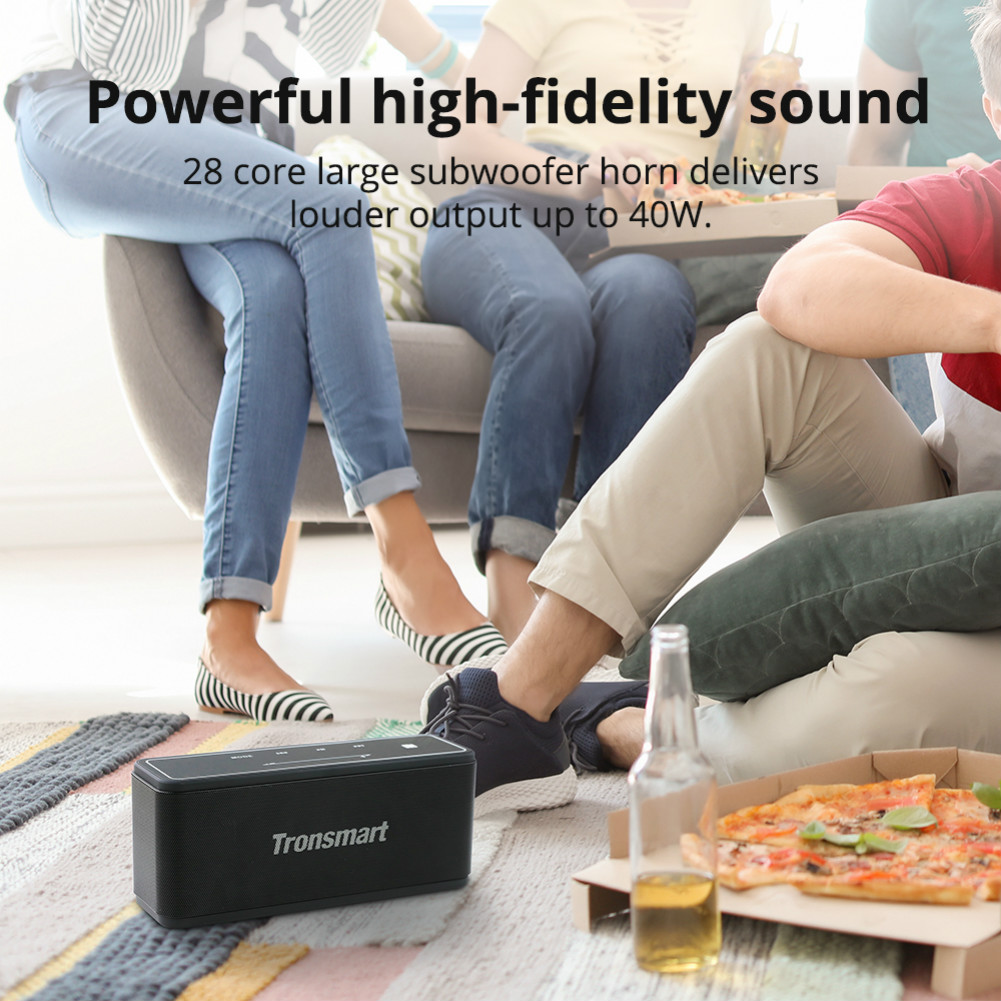 bluetooth-speakers Tronsmart Element Mega SoundPulse™ Bluetooth Speaker with Powerful 40W Max Output 3D Digital Sound TWS Intuitive Touch Control-Black Tronsmart Element Mega Bluetooth Speaker Black 3