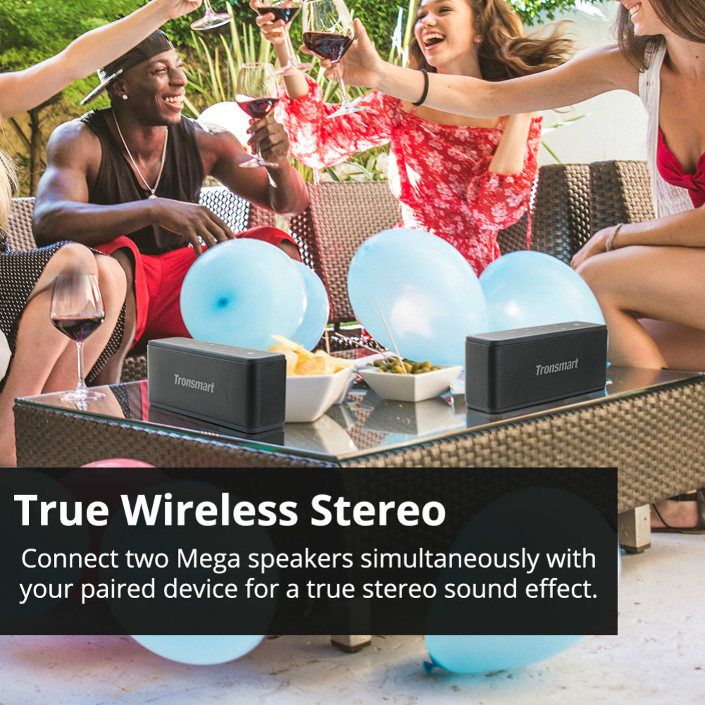 bluetooth-speakers Tronsmart Element Mega SoundPulse™ Bluetooth Speaker with Powerful 40W Max Output 3D Digital Sound TWS Intuitive Touch Control-Black Tronsmart Element Mega Bluetooth Speaker Black 5
