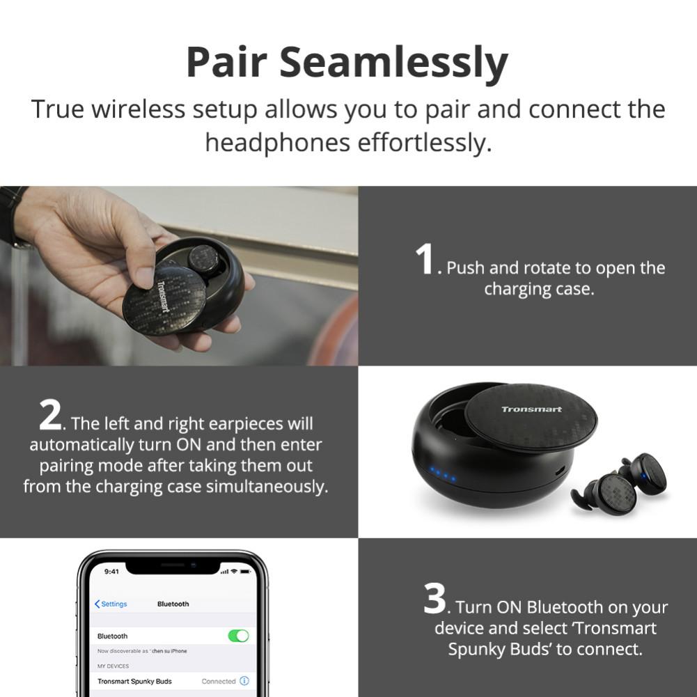 earbud-headphones Tronsmart Encore Spunky Buds Bluetooth 5.0 TWS Earbuds 12 Hours Playtime Siri Assistant IPX5 Water Resistant-Black Tronsmart Encore Spunky Buds Bluetooth Headphones 2