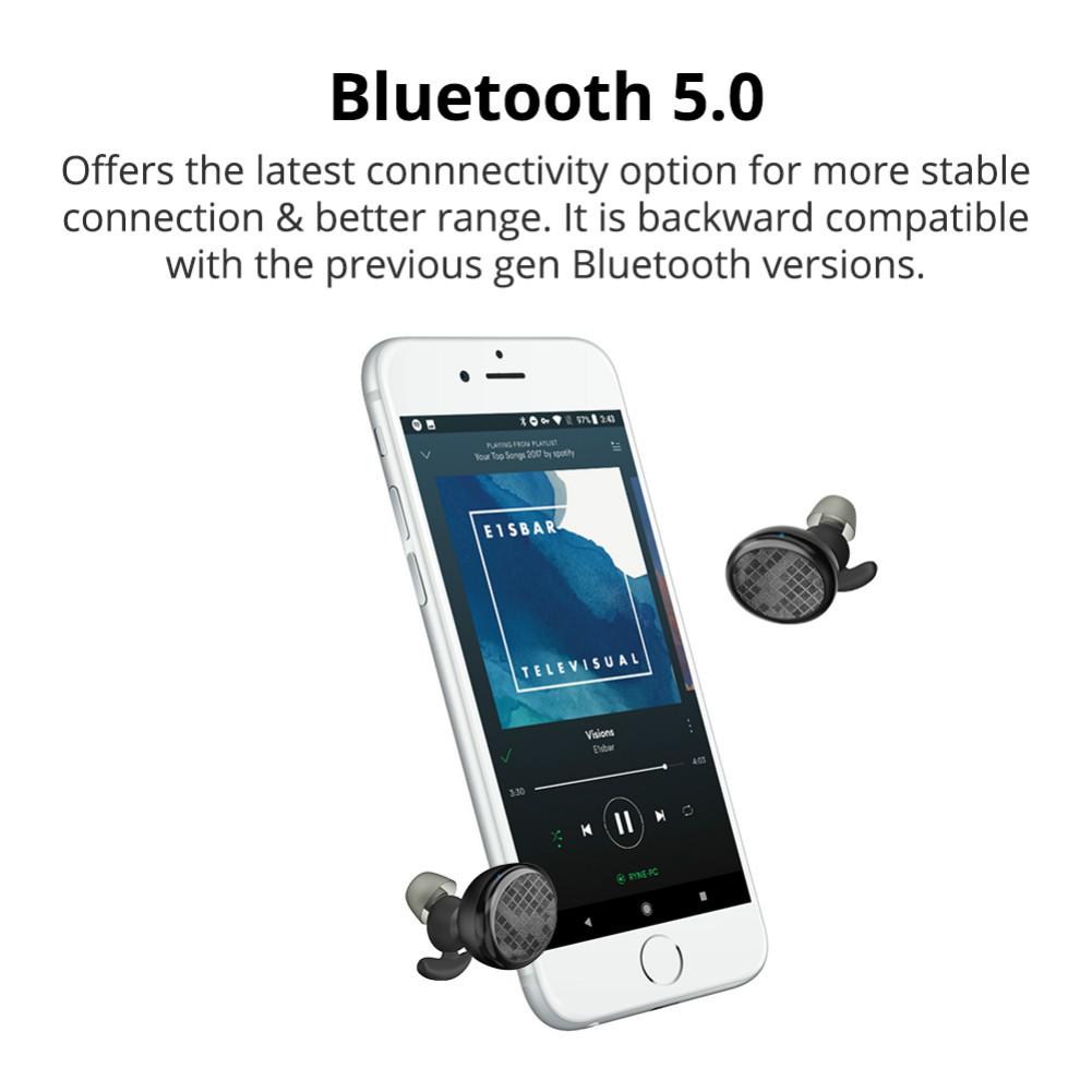 earbud-headphones Tronsmart Encore Spunky Buds Bluetooth 5.0 TWS Earbuds 12 Hours Playtime Siri Assistant IPX5 Water Resistant-Black Tronsmart Encore Spunky Buds Bluetooth Headphones 5