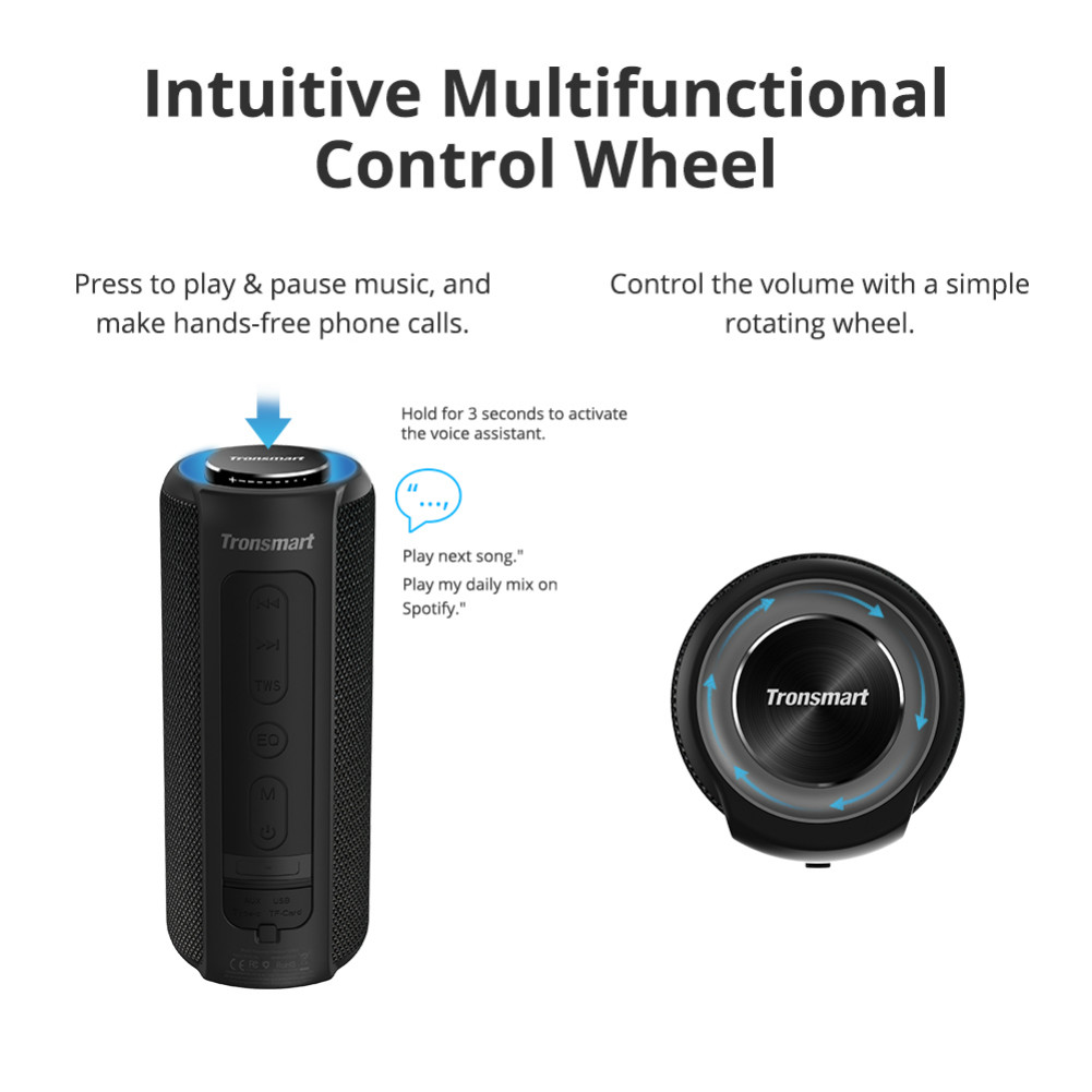 bluetooth-speakers Tronsmart Element T6 Plus Portable Bluetooth 5.0 Speaker with 40W Max Output, Deep Bass, IPX6 Waterproof, TWS-Black Tronsmart element T6 plus Black 7