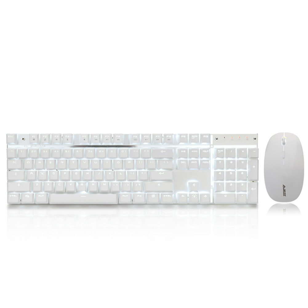 keyboard-and-mice-kit Ajazz A3008 2.4G Wireless Mechanical Keyboard & Mouse Combos 104 Keys White Backlit Blue Switches Keyboard 1600DPI Mouse-White Ajazz A3008 2 4G Wireless Mechanical Keyboard Mouse Combos White