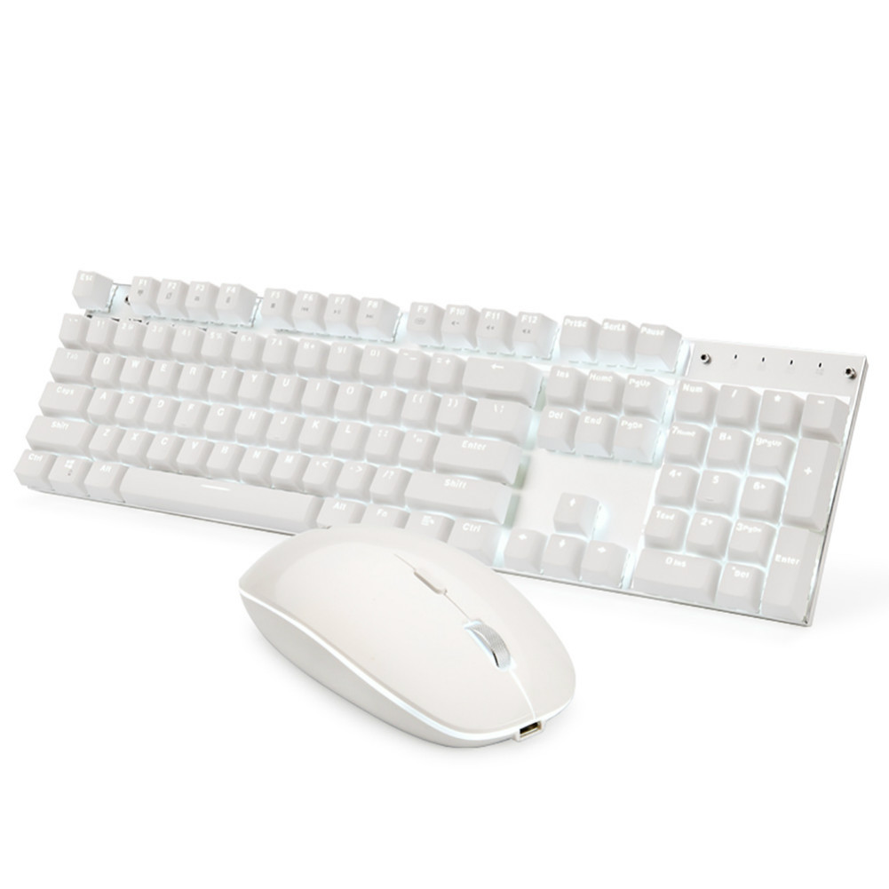 keyboard-and-mice-kit Ajazz A3008 2.4G Wireless Mechanical Keyboard & Mouse Combos 104 Keys White Backlit Blue Switches Keyboard 1600DPI Mouse-White Ajazz A3008 2 4G Wireless Mechanical Keyboard Mouse Combos White 1