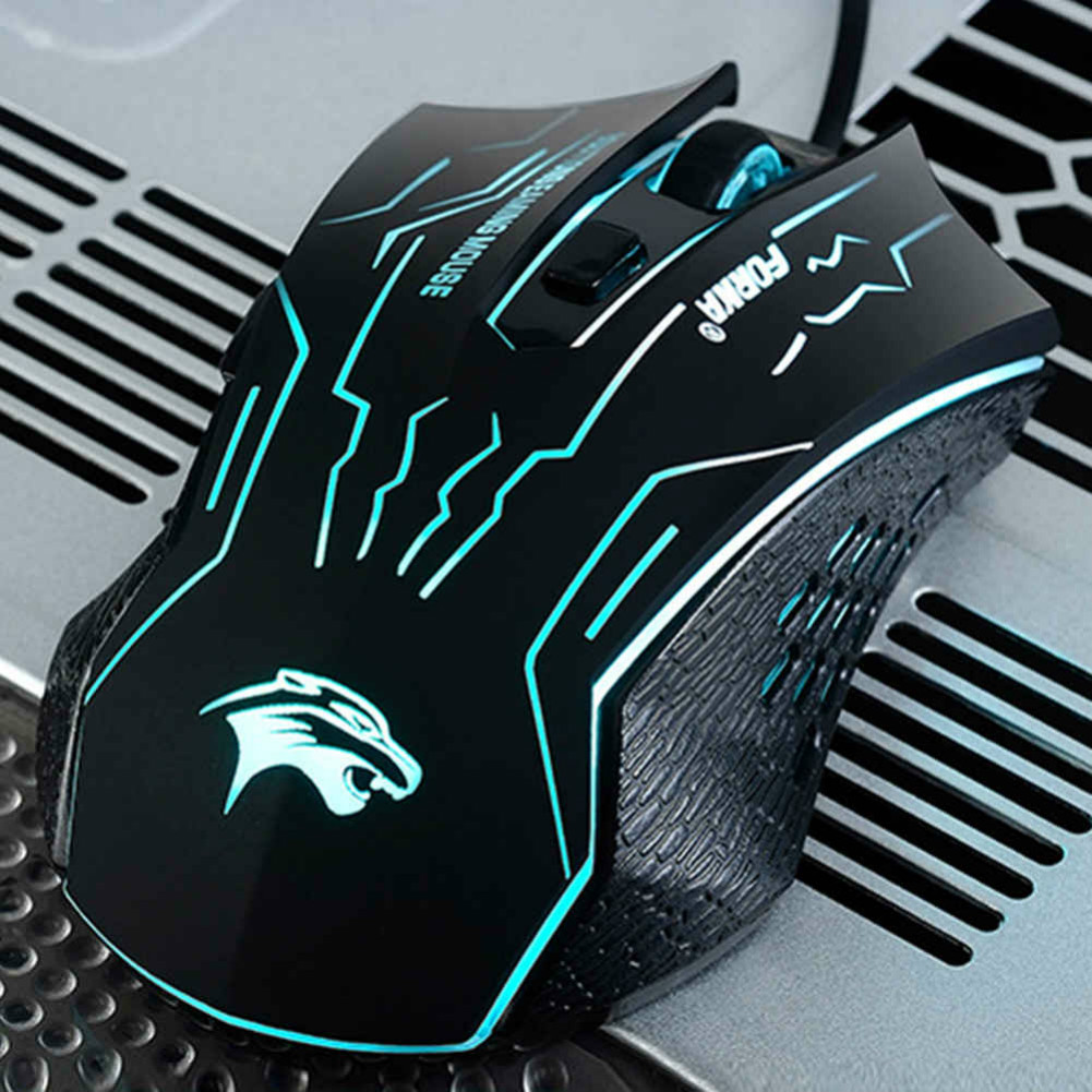 wired-mouse L1 Wired Gaming Mouse Switch 3200DPI Buttons Luminous Mute 7 Colorful Lights-Black L1 Wired Gaming Mouse 1