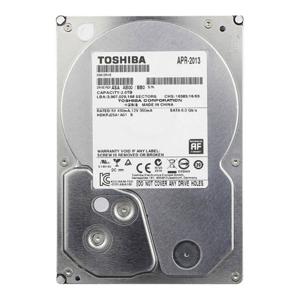 storage TOSHIBA DT01ABA200V 2TB Surveillance Specialised Storage 3.5 Inch HDD SATA3 5700 RPM-Silver TOSHIBA DT01ABA200V 2TB HDD Silver 1