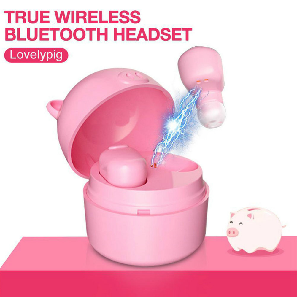 earbud-headphones S620 TWS Bluetooth 5.0 Mini Pig Earphone Wireless 50mAh Battery-Pink TWS S620 Bluetooth Earphone 4