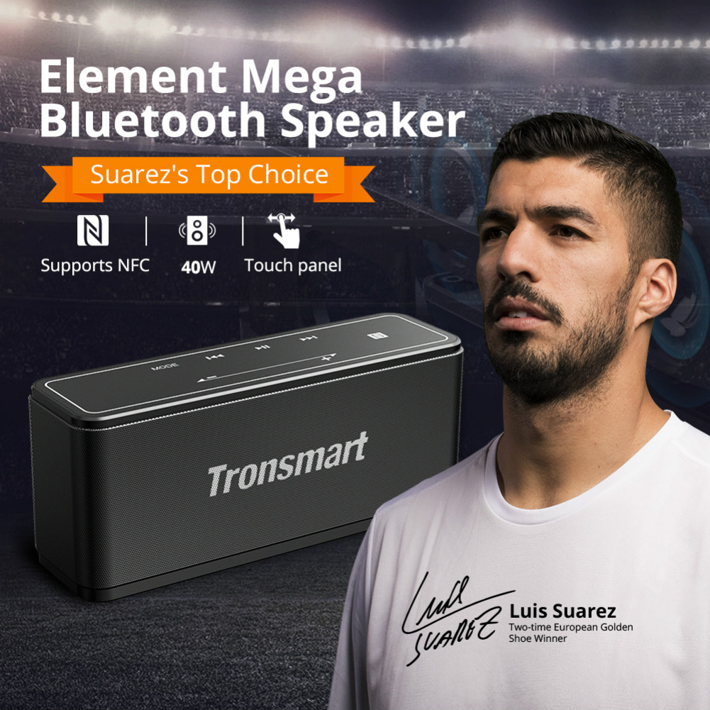 bluetooth-speakers [2 Packs] Tronsmart Element Mega SoundPulse™ Bluetooth Speaker with Powerful 40W Max Output 3D Digital Sound TWS Intuitive Touch Control-Black Tronsmart Element Mega Bluetooth Speaker 3