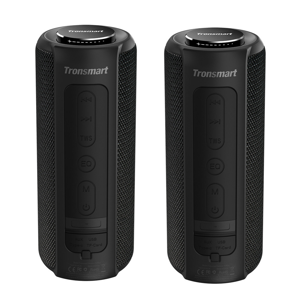 bluetooth-speakers [2 Packs]Tronsmart Element T6 Plus Portable Bluetooth 5.0 Speaker with 40W Max Output, Deep Bass, IPX6 Waterproof, TWS-Black Tronsmart element T6 plus Black