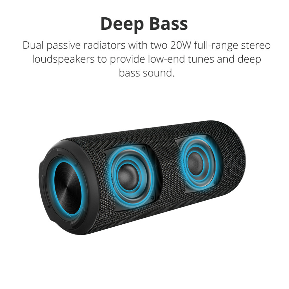 bluetooth-speakers [2 Packs]Tronsmart Element T6 Plus Portable Bluetooth 5.0 Speaker with 40W Max Output, Deep Bass, IPX6 Waterproof, TWS-Black Tronsmart element T6 plus Black 4