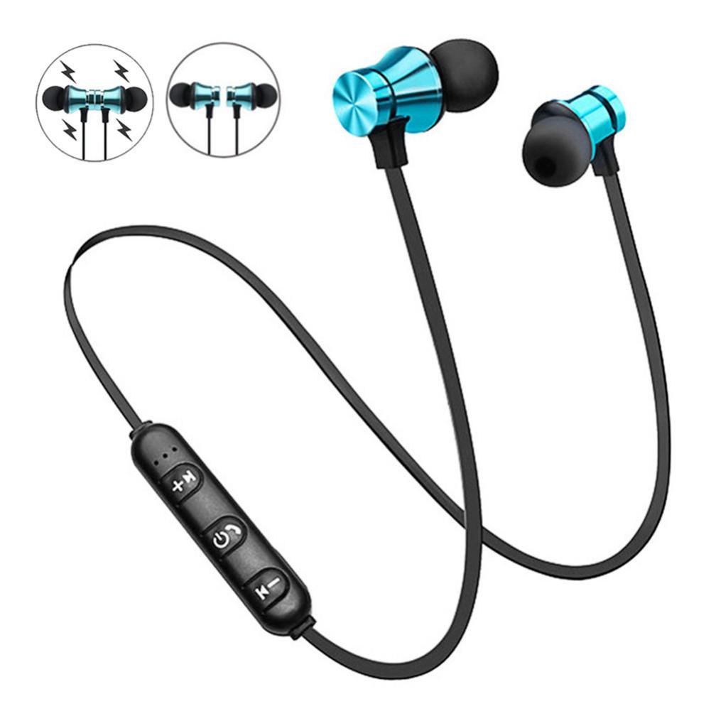 earbud-headphones XT11 Magnetic Sport Neckband Earphone Bluetooth 4.2 Line Control Buttons-Blue XT11 Sport Neckband Earphone Blue 1